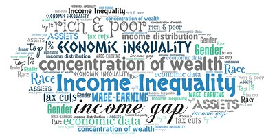 A word cloud about economic inequality.
