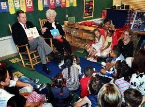 President George H. W. Bush and First Lady Barbara Bush Reading to School Children