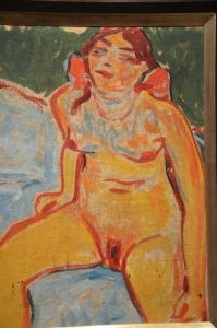 Painting of a seated nude girl.
