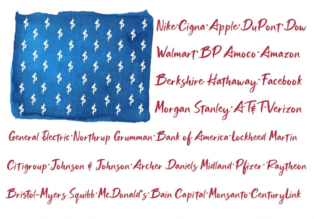 US Flag with Corporate Names