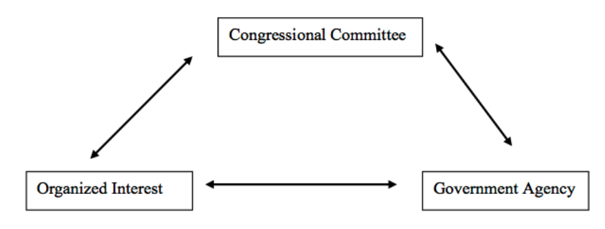 Triangular relationship between congressional committees, organized interests, and government agencies.