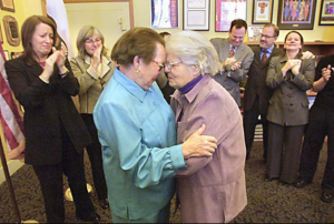 Phyllis Lyon, 79, left, and Del Martin, 83, right, at Their Marriage Ceremony
