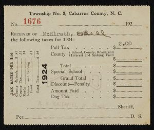 Poll Tax Receipt for Odell McElrath in 1924