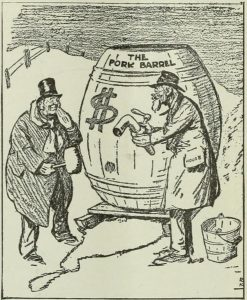 Cartoon of a Pork Barrel in 1849