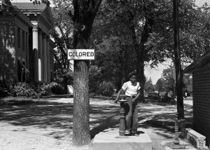 Segregated Drinking Fountain Outside of a North Carolina Courthouse in 1938
