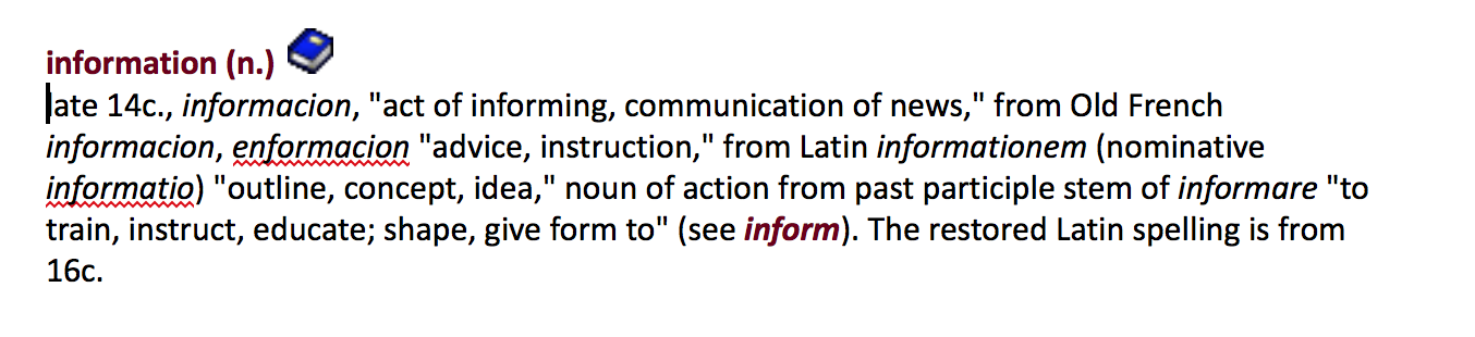 dictionary entry for the word information