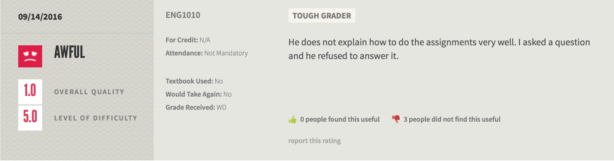 An RMP review of Justin's English 1010 course in which the student says he does not explain assignments or refused to answer questions.