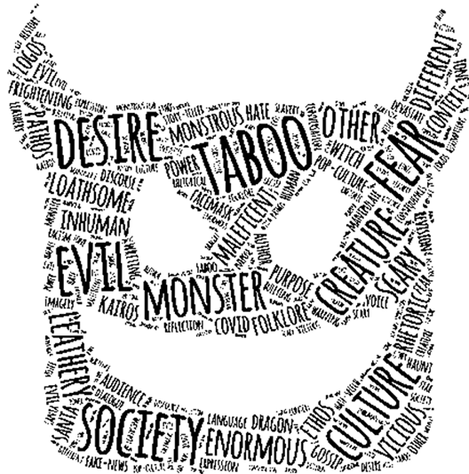 word art showing a monster's grinning face with horns etc all made of words like desire, taboo, evil, fear, society, enormous, culture, monster, etc