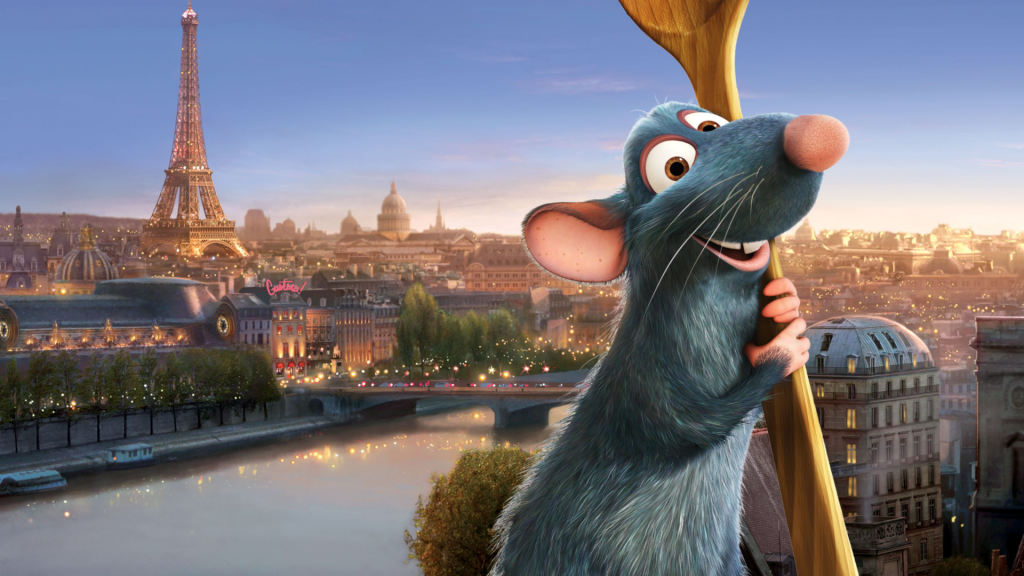rat holding a spoon with the Eiffel Tower in the background