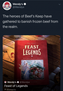 """Screenshot of Wendy's Twitter post describing their """"Feast of Legends"""" campaign stating their food is never frozen"""