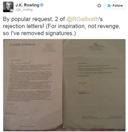 tweet from J.K. Rowling showing two rejection letters she received under her pseudonym Robert Galbraith