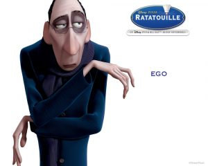 portrait of a critical-looking food critic from Pixar's Ratatouille