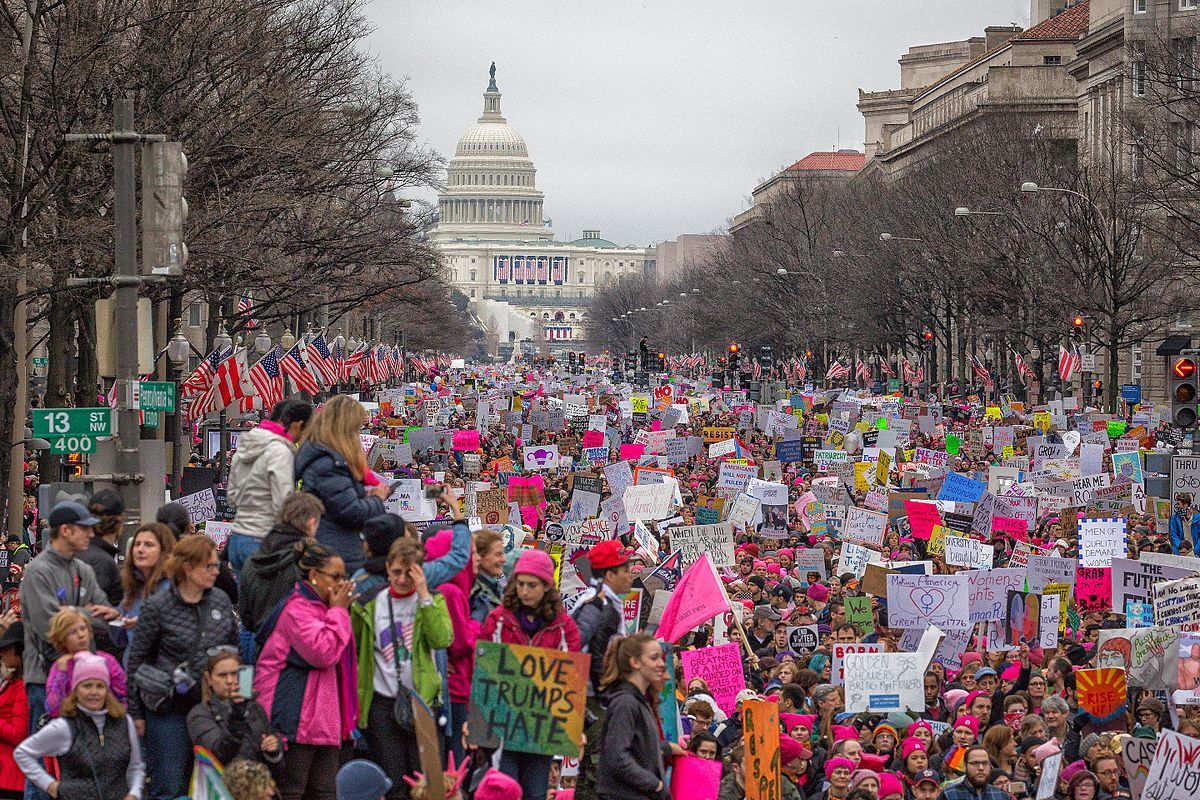 street in front of US capitol filled with women protesting