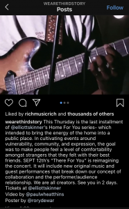 A screenshot of an Instagram page. A man is holding a guitar and there is a long, lengthy caption describing their most recent album launch.