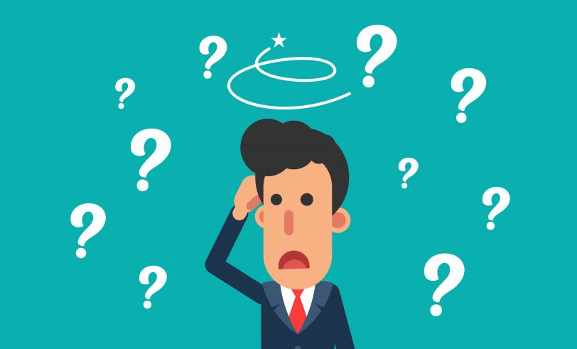 cartoon man scratching his head with question marks all around him