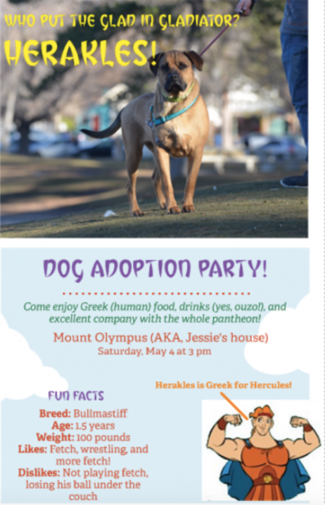 """An invite for a dog adoption part. The image is a bull mastiff, he's standing large at attention, staring at the viewer, and looks strong. Under fun facts about the dog it reads: """"100 pounds. Likes wrestling and playing fetch."""""""