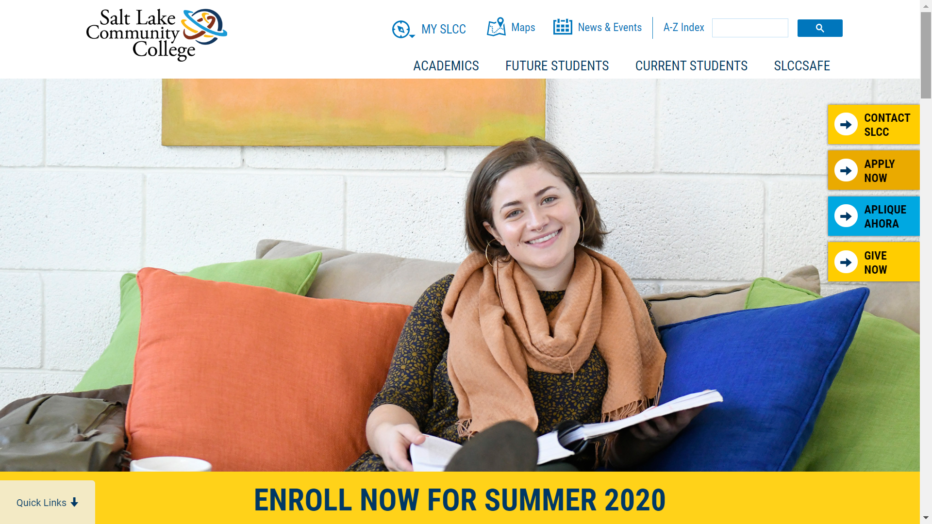 screenshot of the SLCC homepage
