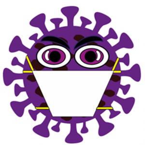 purple cartoon image of the coronavirus wearing a face mask