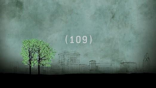 green trees, overcast sky, number 109 centered