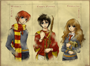 colored sketch of Ron Weasley, Harry Potter, and Hermione Granger from the Harry Potter series