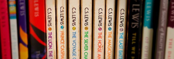 spines of the seven books in the Chronicles of Narnia by C. S. Lewis