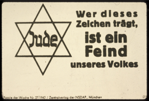 "image of German anti-Jewish propaganda with a star of David saying ""Jude"" and a statement in German"