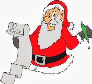 cartoon image of Santa winking at the viewer as he checks off his naughty-vs-nice list