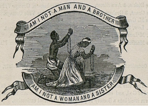 """old sketch of a male and female slave on their knees holding up chained hands that reads, """"Am I not a man and a brother, am I not a woman and a sister"""""""