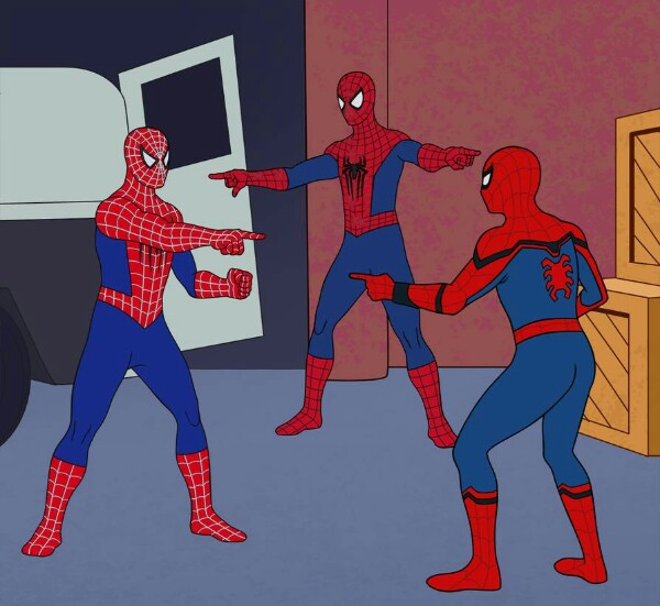 comic showing three Spidermans pointing at each other